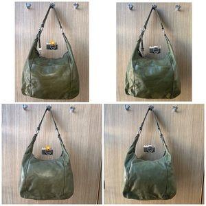 FOSSIL Olive Green Shoulder Bag Purse Leather
